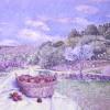 'Paisaje con fresas' 1990 · Óleo sobre lienzo · 65x81 · Colección particular