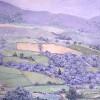 'Paisaje con fresas (Navarra)' 1991 · Óleo sobre lienzo · 100x100 · Colección particular