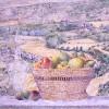 'Paisaje con frutas (Soria)' 1991 · Óleo sobre lienzo · 100x100 · Colección particular
