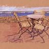 'Sillas' 2001 · Óleo sobre cartón · 23x67 · Colección particular